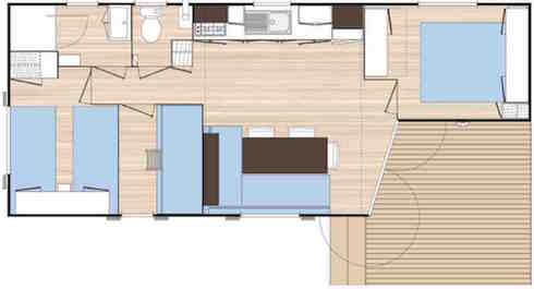 Camping des Alouettes plan mobil home 3 chambre