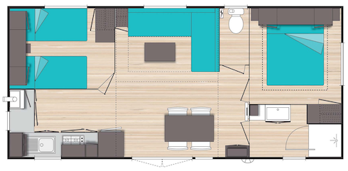 Camping des Alouettes plan mobil home XL 2 chambres